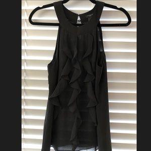 Ann Taylor Black Ruffle Blouse Size 0 EUC